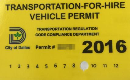 DFW Vehicle Permit