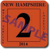 New Hampshire inspection sticker example