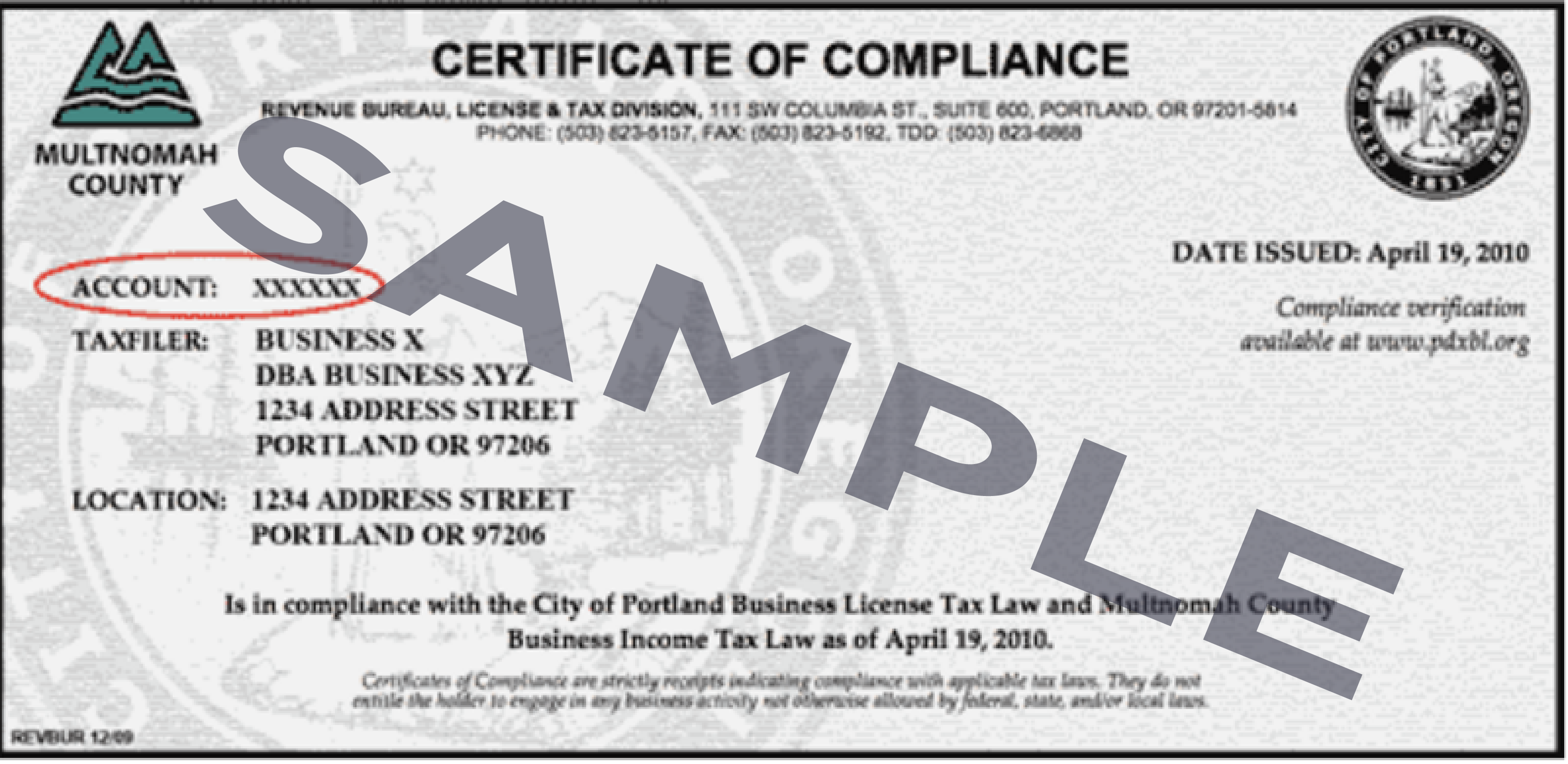 Portland Business License